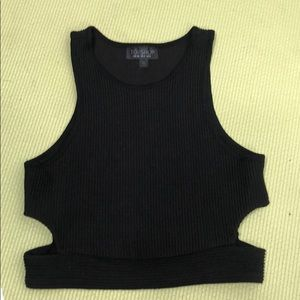 Topshop side cut out crop top 4 S black rip tank